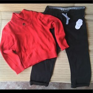Boys sweater and black pants NWT